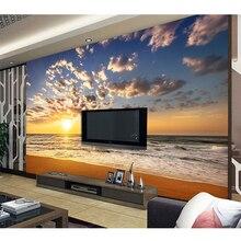 3D Stereo Custom Mural DIY Wallpaper Brand Designer Living Room TV  Background SUNSET Surf Beach Self