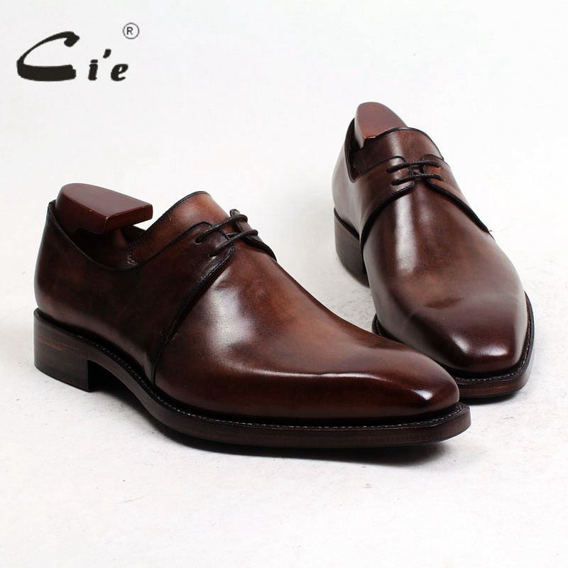cie Free Shipping Goodyear Welted Handmade Calf Leather Mens Dress/Classic Derby Color Light Brown Patina Breathable Shoe D55