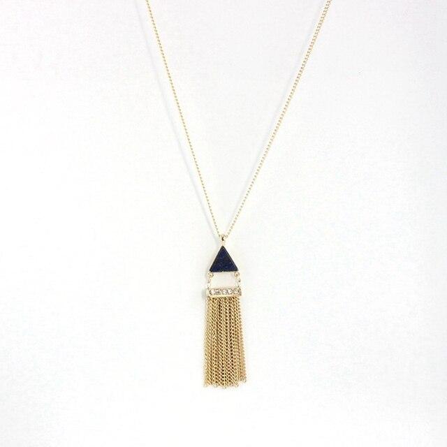 Фото кисточка золотого цвета chicvie ожерелье с кулоном из натурального