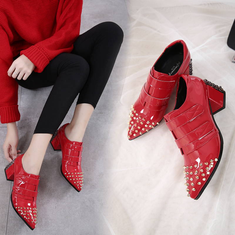 2017 new women's shoes fall new European and American rough with high-heeled rivets magic stickers handsome shoes shoes frank buytendijk dealing with dilemmas where business analytics fall short