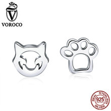 купить VOROCO 100% 925 Sterling Silver Cute Cat Pets Claw Stud Earrings For Girl Female Party Dating Tiny Silver Fine Jewelry VSE148 по цене 230.33 рублей