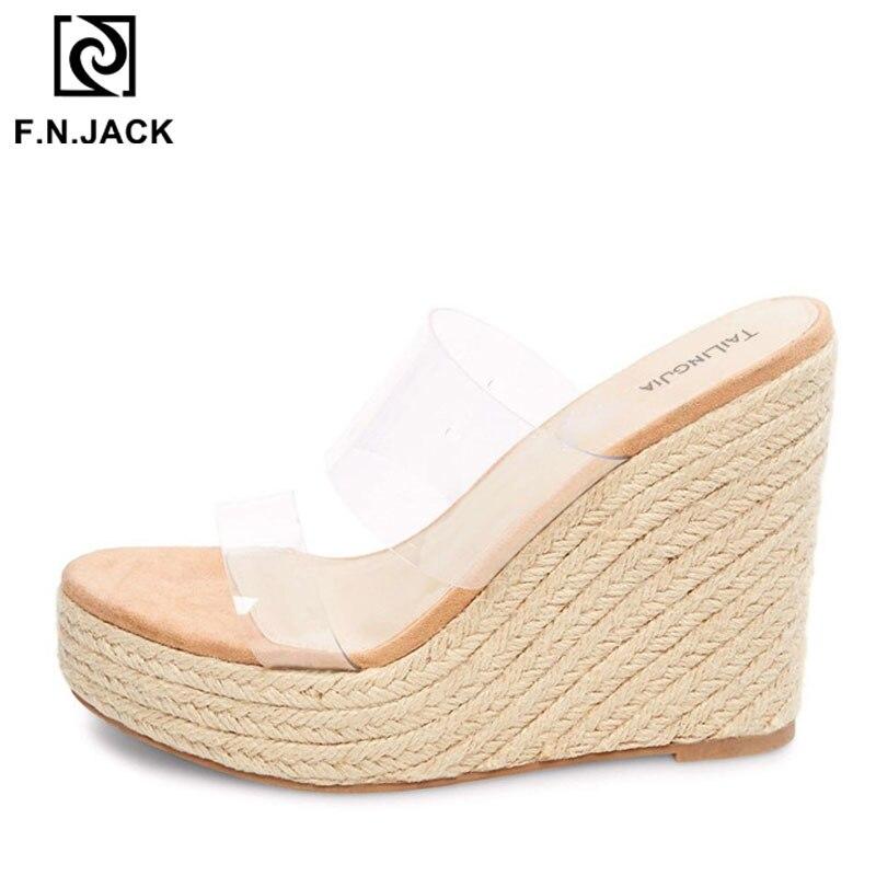 F. N. جاك 2019 عالية الكعب الأحذية النسائية الصيف صناديل للنساء الأزياء مفتوحة اصبع القدم النعال الإناث أسافين صندل-في شباشب من أحذية على  مجموعة 1