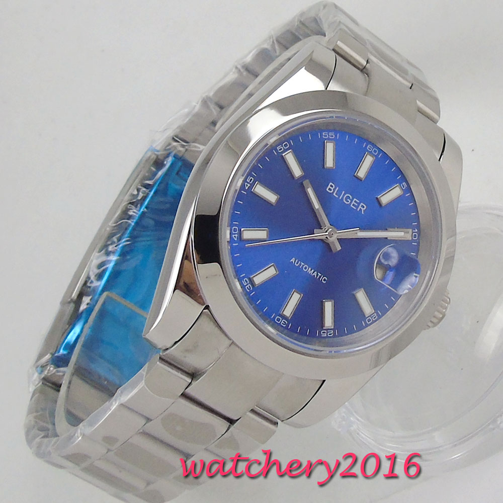 39mm Bliger Blue Dial Polished Steel Case Top Brand Luxury Sapphire Glass Date Automatic Movement mens Watch39mm Bliger Blue Dial Polished Steel Case Top Brand Luxury Sapphire Glass Date Automatic Movement mens Watch