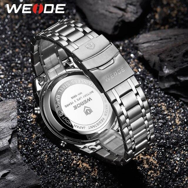 WEIDE Quartz hommes sport loisirs affaires montres chronographe militaire armée horloge pour hommes étudiants 30M étanche bracelet de montre en cuir synthétique polyuréthane
