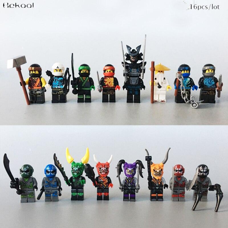 16PCS/LOT Ninja Sons of Garmadon Ultra Violet mask vs Lloyd zane Kai Cole Jay Nya WU mit compatible Block KID TOYS NEW star wars republic commando 2
