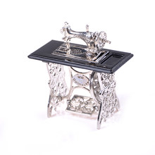 Children Pretend Play Toys Miniature Mini Retro Sewing Machine Furniture Toys for Doll House Decor Dollhouse Accessories(China)