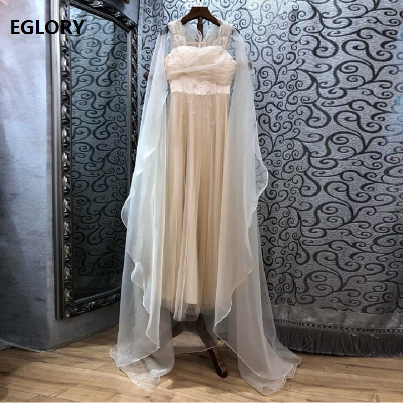 Top Grade New 2019 Spring Summer Long Party Evening Vestidos Women Cape Poncho Style Hand Made Beading Long Maxi Dress Events