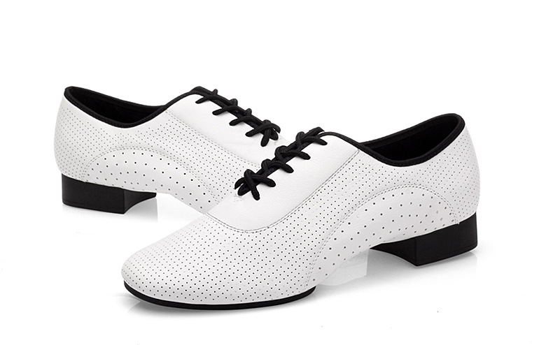 Cowhide White Full Hole Modern Men Shoes Sneakers Ballroom Latin Square Dance Shoes GB Sports Shoes