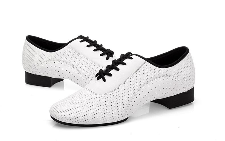 Peau de vache blanc plein trou moderne hommes chaussures Sneakers salle de bal Latin carré chaussures de danse GB chaussures de sport naturel en cuir véritable homme