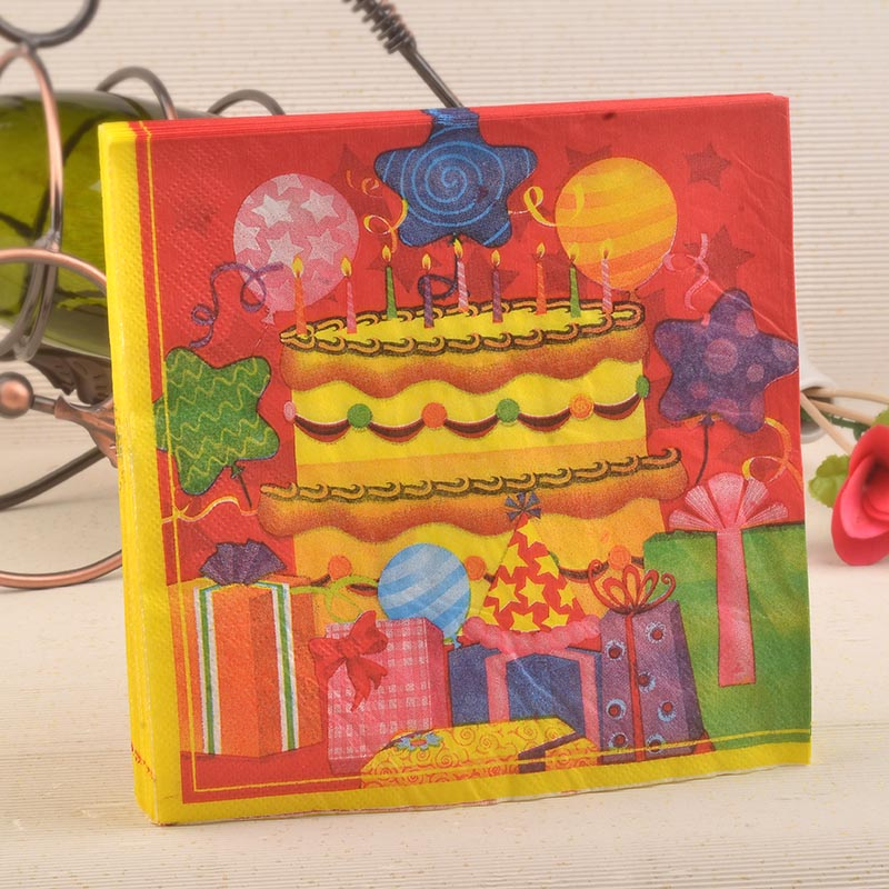 Birthday Party Kids Cake Paper Napkin Festive Tissue Napkins Decoupage Decoration Paper 33cm*33cm 20pcs/pack