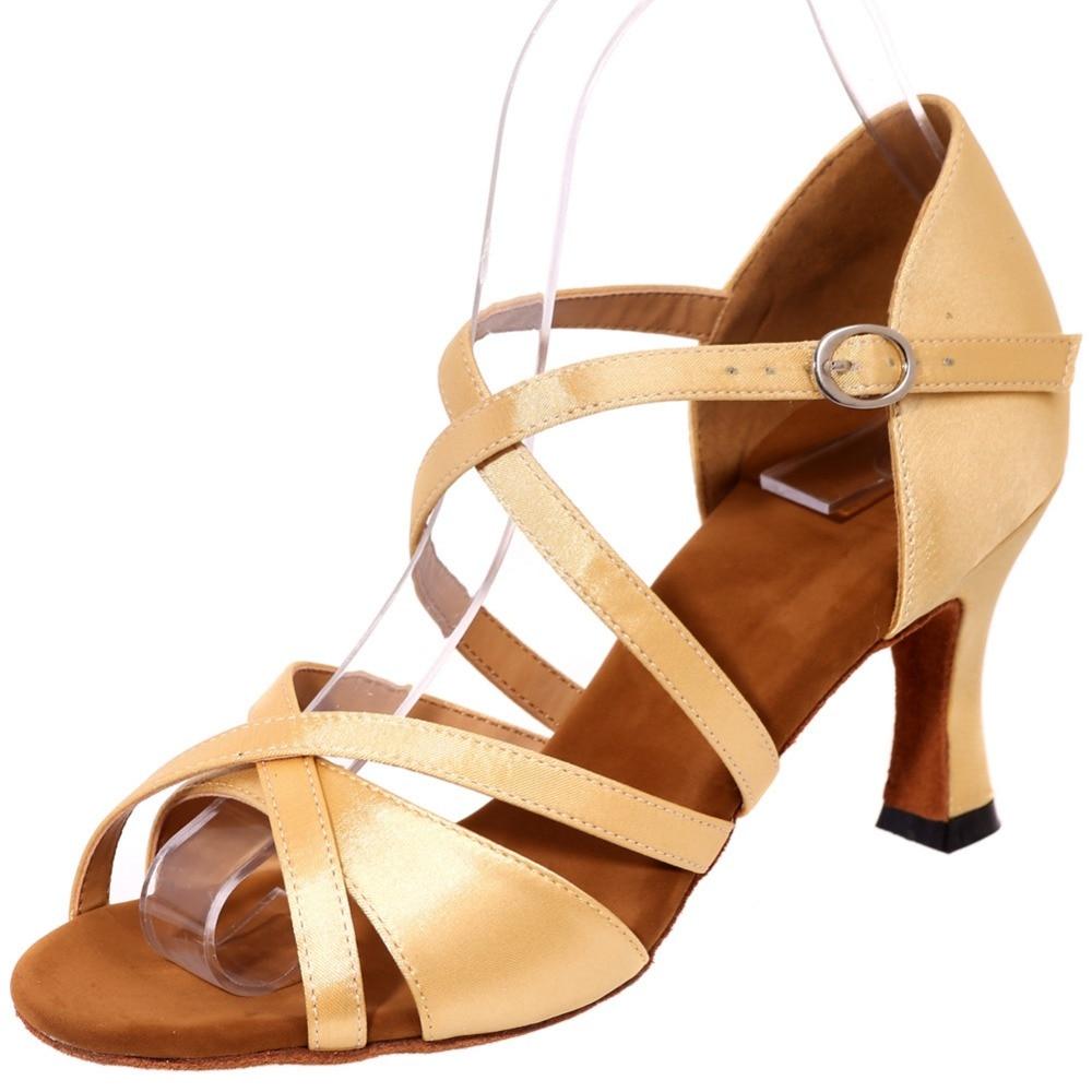 Élégant ruban de satin entrelacé dame élégante chaussures de danse latine en cuir semelle souple rouge noir marron argent or