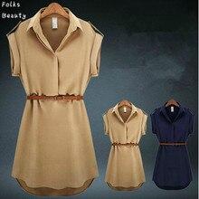 Plus Size Women Dress Summer 2016 V Neck Short A Line Solid Plus Size Chiffon Casual