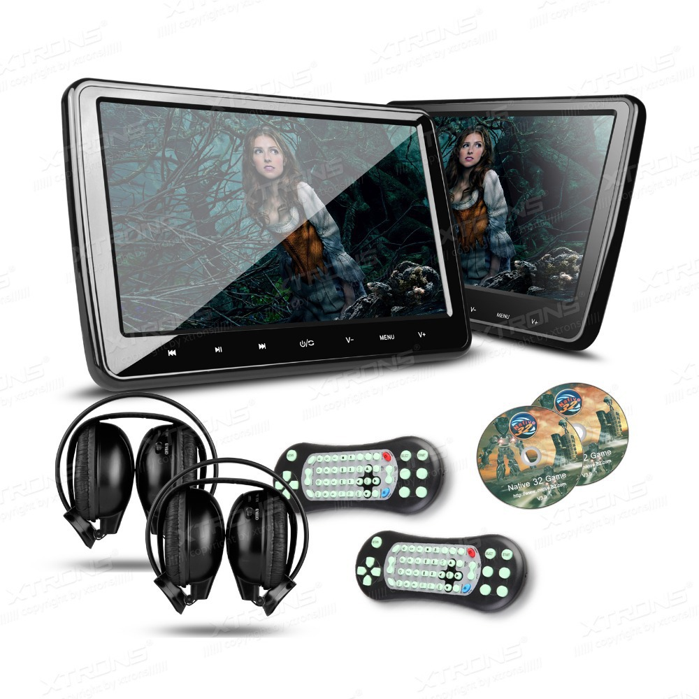 XTRONS 1 Pair Universal 10.1 inch HDMI HD Screen headrest car dvd player Monitor USD FM SD + 2 IR Headphones ...