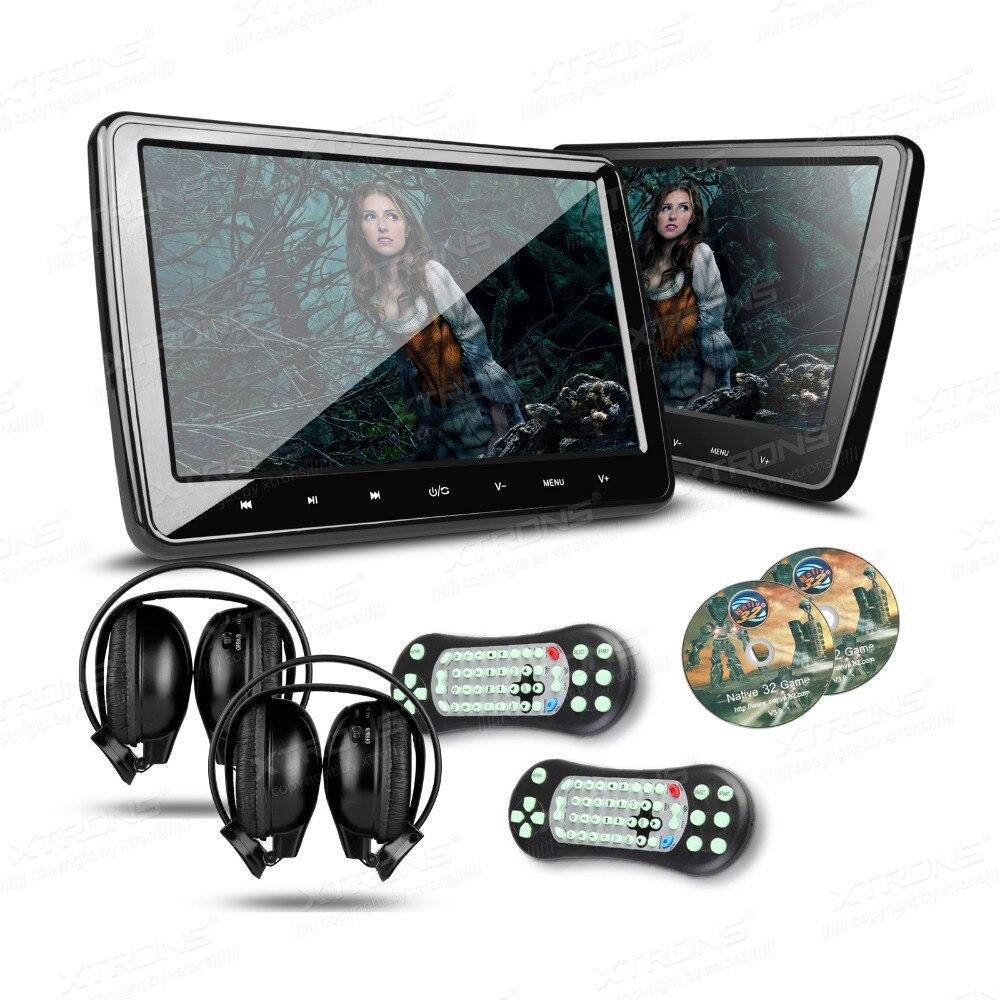 Xtrons 1 пара Универсальный 10.1 дюймов HDMI HD Экран подголовник автомобиля dvd-плеер Мониторы USD FM SD + 2 ИК-наушники ...