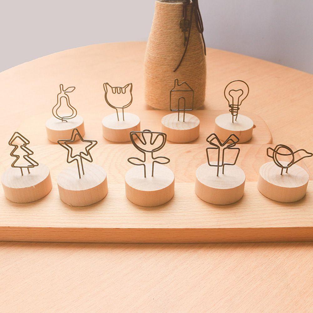 2 шт. деревянные зажимы для заметок металлическая звезда кошка Рождественская елка птица фото зажимы подставка держатель для карт банкнот сообщения ремесла офисный стол органайзер