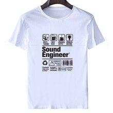 e918d6a43d94f 2018 Impressão Verão homens Camisas de Trabalho Da Tripulação Pescoço  Conforto Macio Explicou Engenheiro de Som t camisa de Mang.