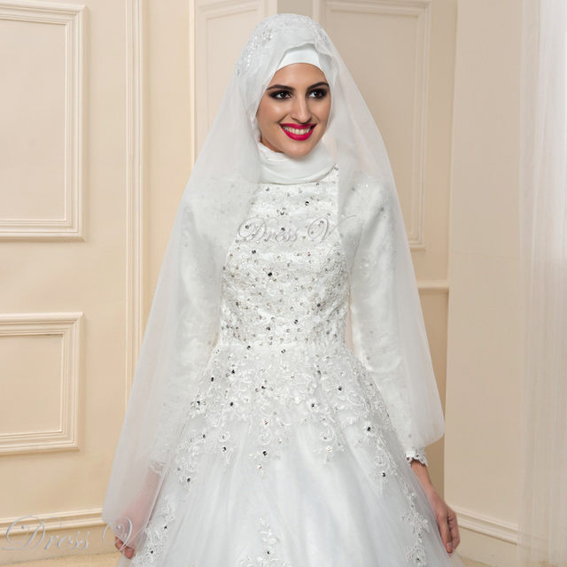 Online Shop Dressv Elegant Muslim Turtleneck Wedding Dresses with ...