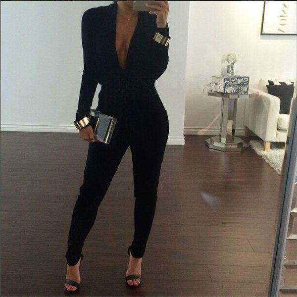 92e8a3473de7 Sexy V Neck Jumpsuit Women Fashion Black Bodysuit Party Long Sleeve  Overalls For Women Rompers Womens Jumpsuit Female lxy157