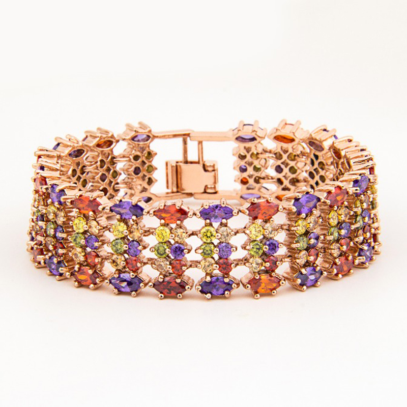 Emmaya Rose Gold Color Mona Lisa Multicolor CZ Stones Cluster Women Bracelet Jewelry Wedding Party Gift