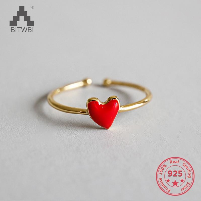 100% S925 Sterling Silber Mode Rot Liebe Herz Öffnung Ring Weiblichen Schmuck Rheuma Lindern