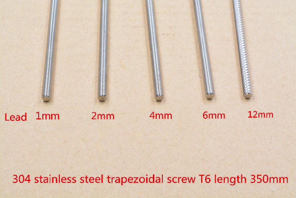 304 Stainless Steel T6 Screw Length 350mm Lead 1mm 2mm 4mm 6mm 12mm Trapezoidal Spindle Screw 1pcs