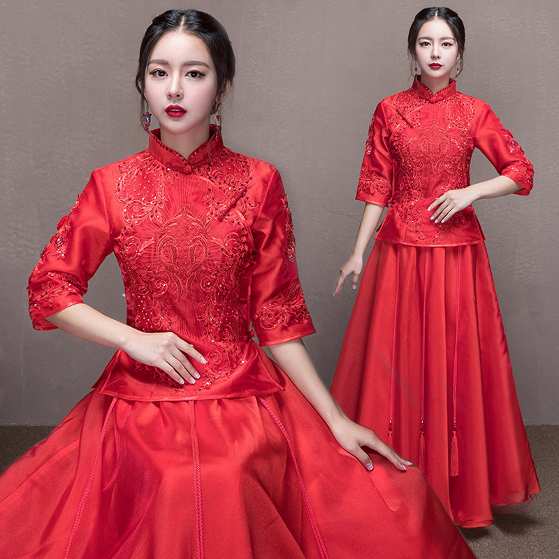 Здесь продается  Bride Red Satin Cheongsam Wedding Dress Women Chinese Traditional Qipao Embroidery Dresses Robe Mariage Femme Retro Qi Pao  Одежда и аксессуары