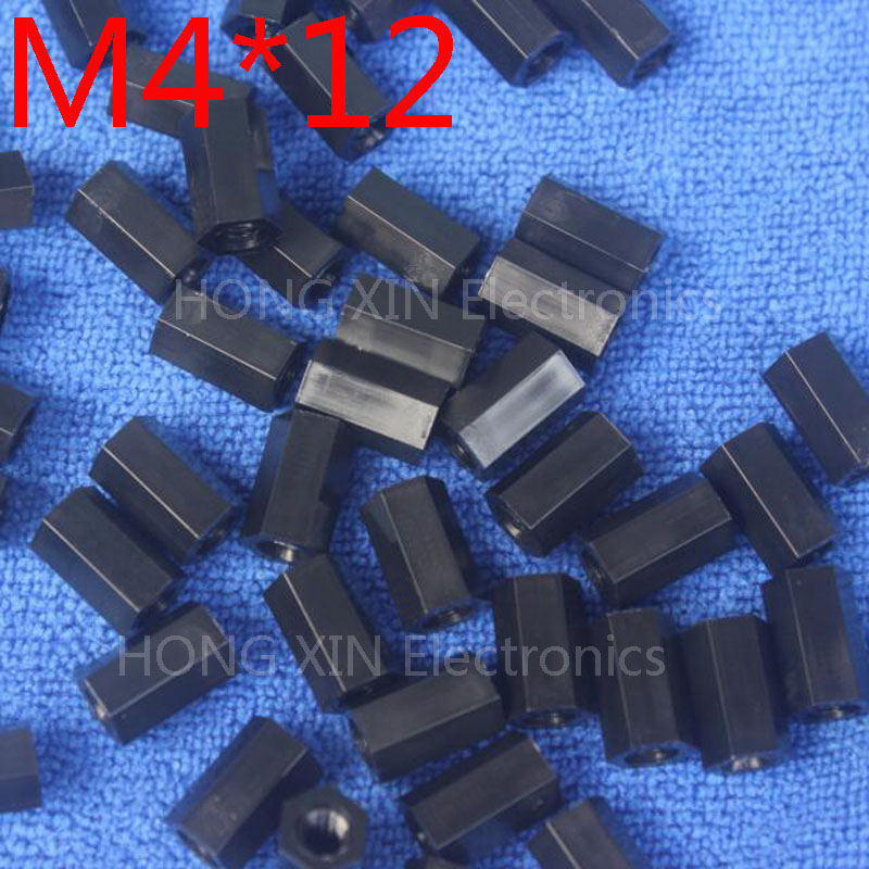 M4 12 Black 1pcs Nylon Standoff Spacer Standard M4 Plastic Female Female 12mm Standoff Repair accessory High Quality in Screws from Home Improvement