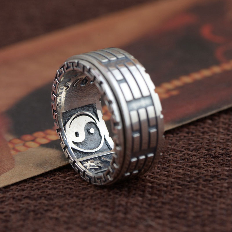 925 Sterling Silver Ring Yin Yang Gossip 100% Real S925 Thai Silver Rings for women Jewelry Male Men Size 8-11.5 цены онлайн