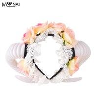 Lolita Fancy Dress Sheep Horns Headband With Rose Flowers Lace Halloween Headwear Costume accessory Handmade Steampunk Headpiece