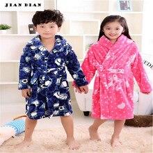 Купить с кэшбэком Autumn Winter Flannel Nightgown Children'S Pajamas Thick Coral Boys And Girls Children Baby Bathrobe SleepWear Kimono Soft Warm