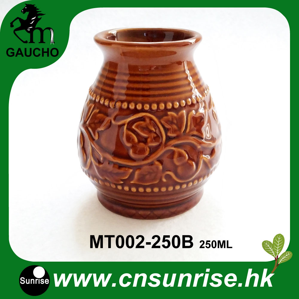120pcs lot Yerba Mate Calabaza Gourds Ceramic Cups With Emboss Calabash Pattern Teaware Hot Sale MT002