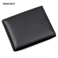 RFID Wallet Antitheft Scanning Leather Wallet Genuine Cow Leather Men's Slim Leather Mini Wallet Case Credit Card Black Purse