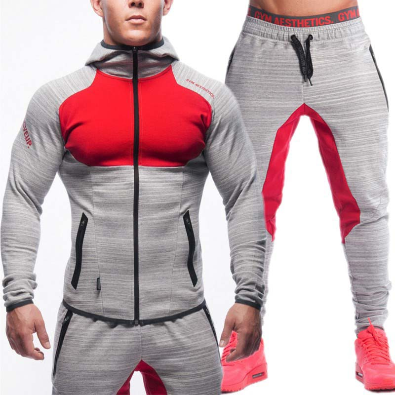 2019 Mens Sweat Suits Zip Hoodie Sweatshirt & Sweatpants 2 Piece Tracksuit Men Set Bodybuilding Sportswear Joggers Man Suits