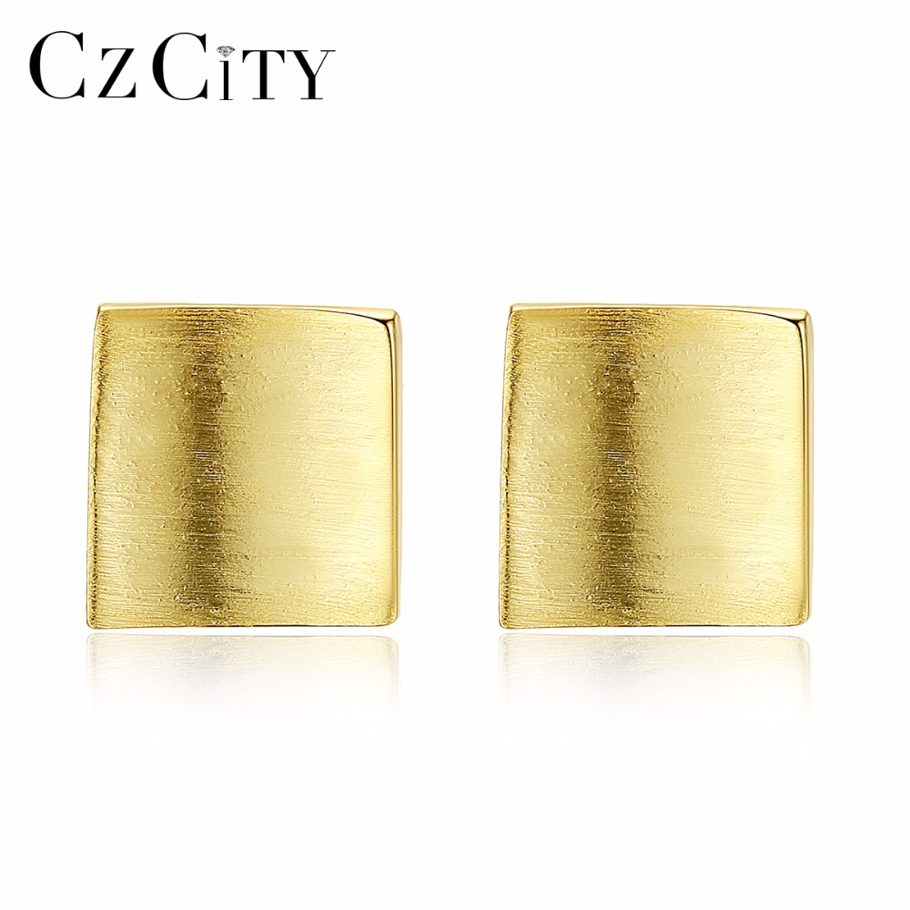 CZCITY Korean Silver Stud Earrings For Women New Fashion Square Trendy Women Earring Studs Boucle D'Oreille Gift SE0175