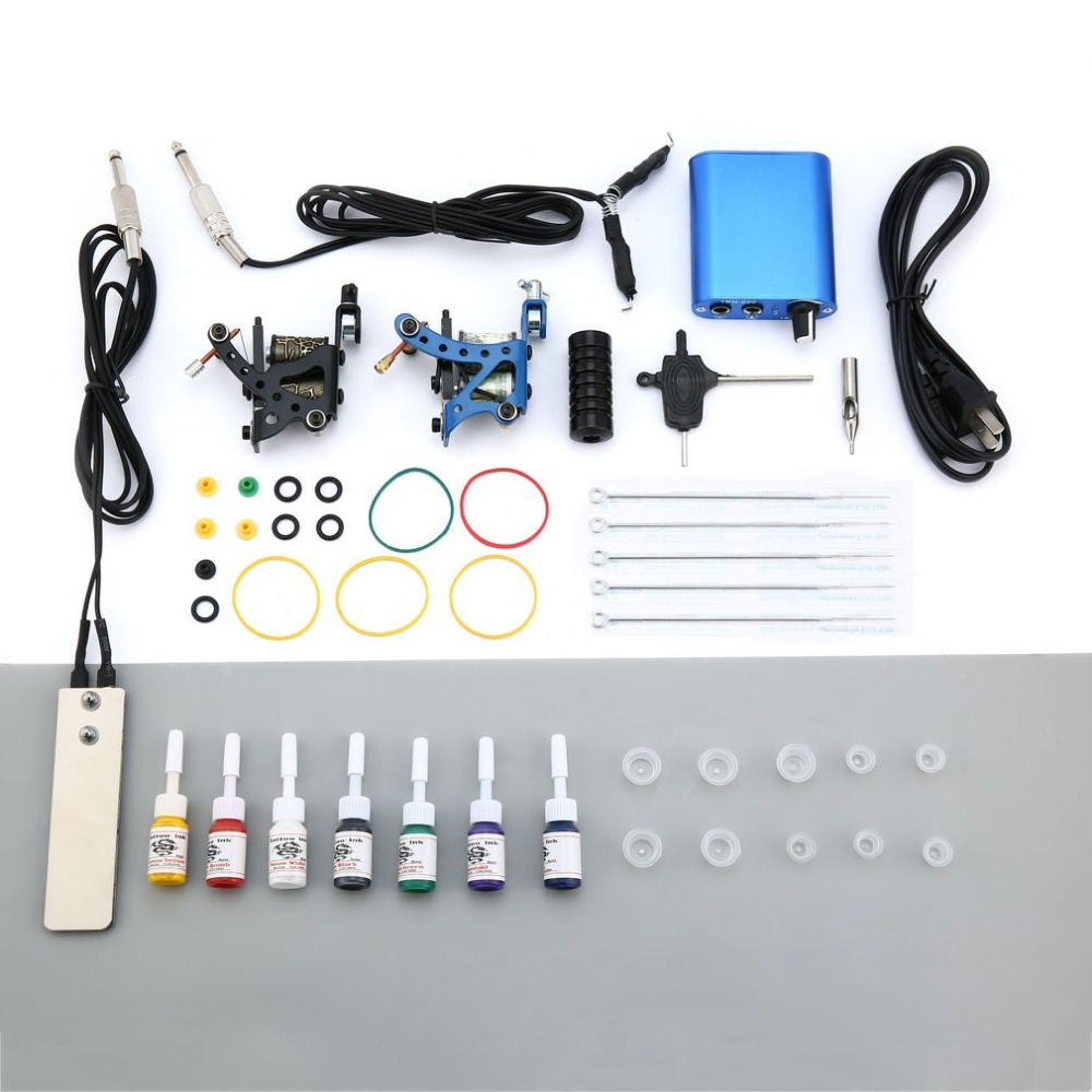 Pro Tattoo Complete Beginner Tattoo Kit 2 Pro Machine Guns 7 Colors Inks Power Supply Needle Grips Tips Tatto Accessories
