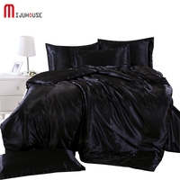 New Silk Bedding Sets King Double Size Black Pure Color Satin Summer Used Cold Bed Linen China Luxury Bedding Kit Duvet Cover