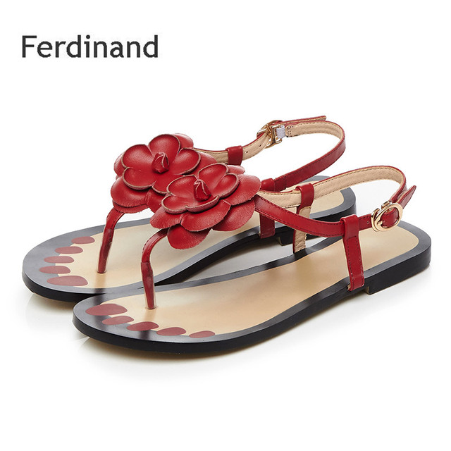 a2421e100 Women Flat Sandals Mixed color White Red Ladies Casual sandals Genuine  leather Flower Flip Flop Women