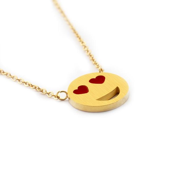 Wholesale 10pcs Gold Color Dainty Smiley Face Necklace Pendant