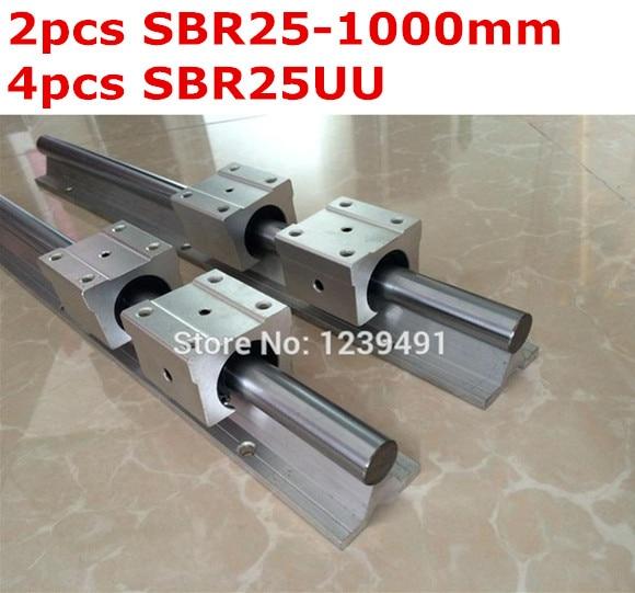 2pcs SBR25  - 1000mm linear guide + 4pcs SBR25UU block жидкость sbr oreshek 60мл 0мг