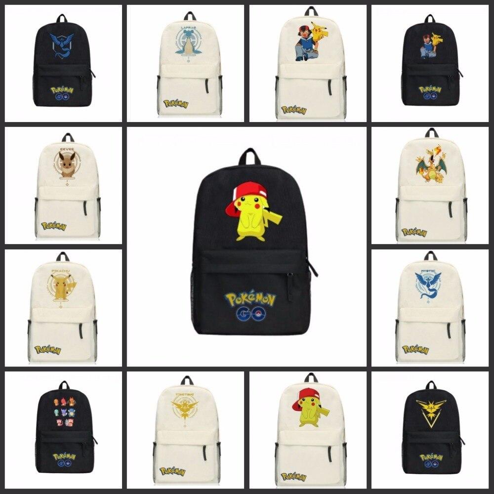 GAME Pokemon GO Pocket Monster Pikachu backpack schoolbag canvas Shoulder Bag Cartoon backpack 19 style pokemon go unisex backpack canvas school bag teenagers cartoon pikachu schoolbag shoulder rucksack travel bags mochila 9 styles