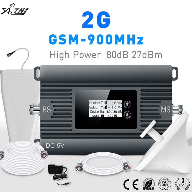 High Power Mini 900mhz GSM 2G Mobile Signal Booster 80dBi Signal  Repeater 2g Gsm Cellular Signal Amplifier Kit With LCD Display