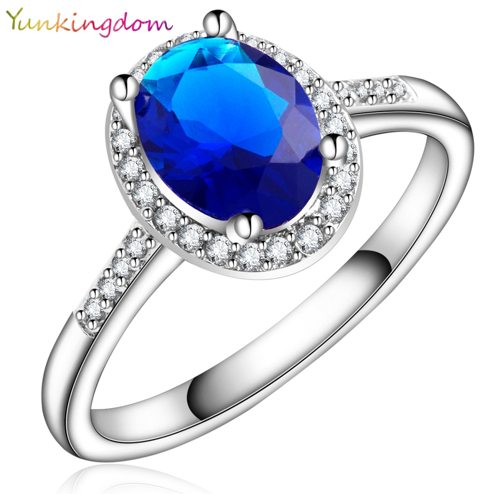 3yunkingdom Oval Zircon Crystal Wedding Ring Fashion Dark Blue Rings
