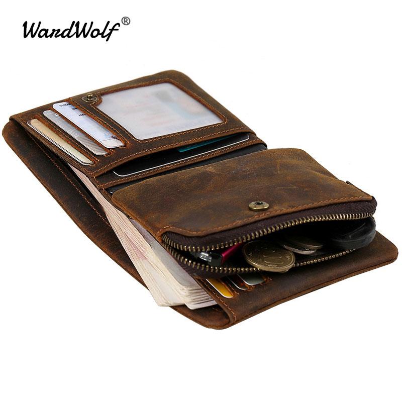 WardWolf Detachable Purse Wallet for Men Zipper Coin Bag Money Holder Vintage Genuine Leather Short Wallet Male ID Card Holder
