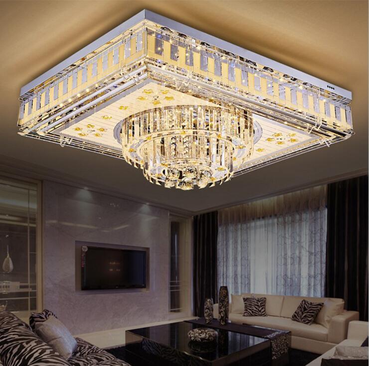 Wohnzimmer Leuchten Luxus Kristall Lampe Rechteckige Led Schlafzimmer Mahlzeit Deckenleuchte Halle Versprechen Bunte Lichter Dekoriert