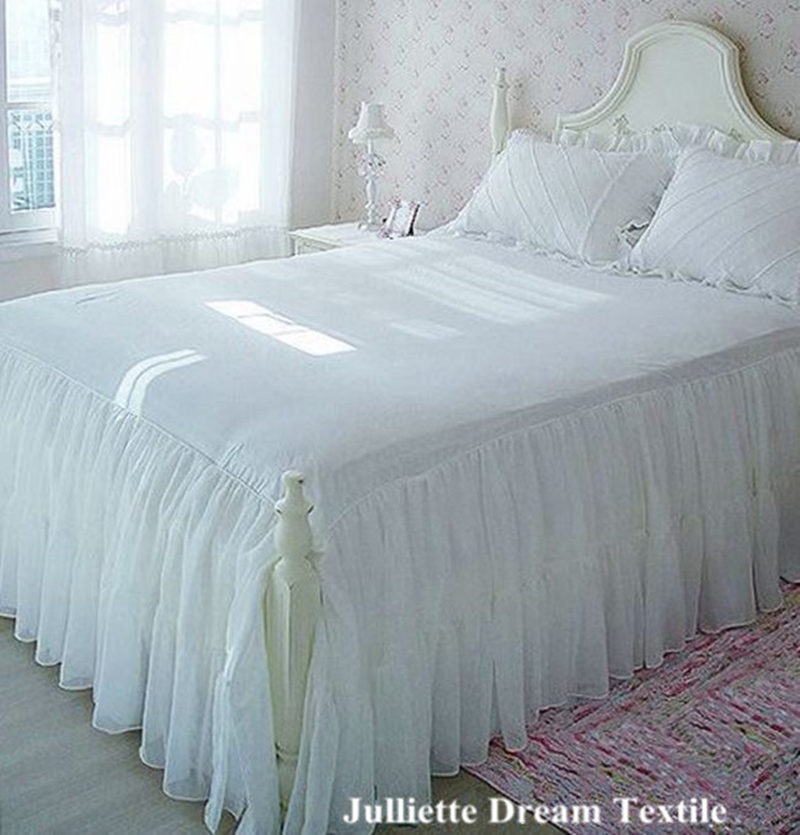 1piece Romantic two layers bed skirt elegant chiffon bedspread satin cotton bed sheet for wedding decoration