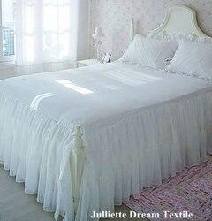 1 sztuka romantyczna dwuwarstwowa falbanka na ramę łóżka elegancka szyfonowa narzuta satynowa prześcieradło bawełniane do dekoracji ślubnych łóżko księżniczki okładka w Falbany na łóżka od Dom i ogród na