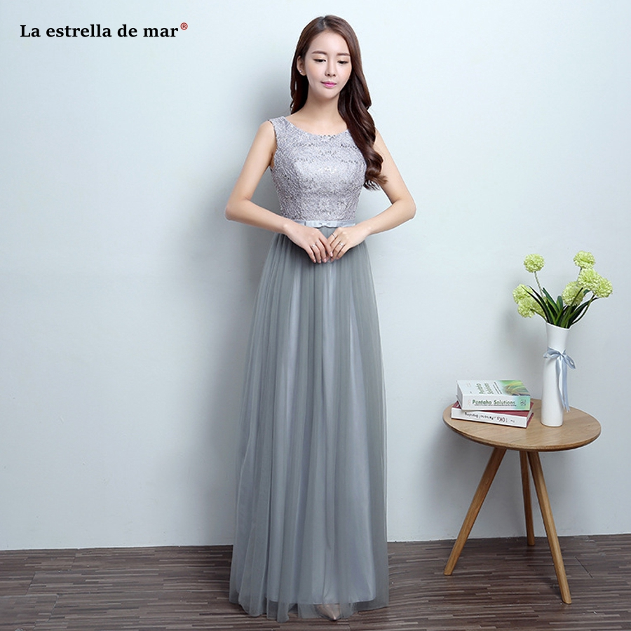 Vestido DE madrinha longo2018 new lace and tulle a Line grey   bridesmaid     dresses   cheap robe demoiselle d'honneur fast delivery