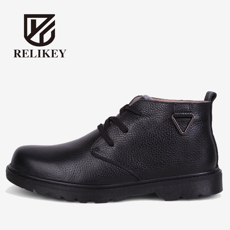 RELIKEY Brand Men Boots High Quality Fur Men Ankle Boots,Winter Super Warm Men Casual Shoes,Comfortable Work Boots Soft For Men. top brand high quality genuine leather casual men shoes cow suede comfortable loafers soft breathable shoes men flats warm