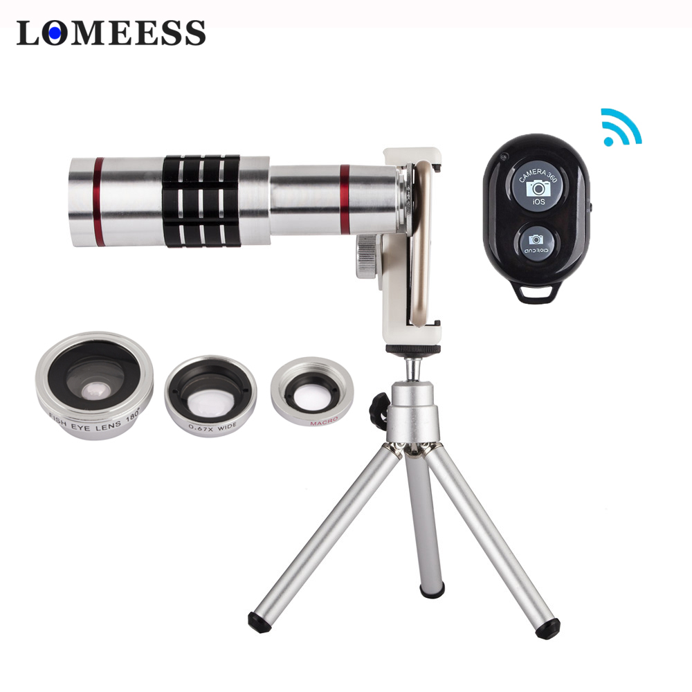 4 in 1 Cellphone Lens Kit 18X Telephoto Zoom Fisheye Wide Angle Macro Lens Telescope With
