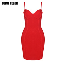 DEIVE TEGER Summer Sleeveless Party Club Wear Sexy Bustier Women Bandage Bodycon Mini short Dress HL2547(China)